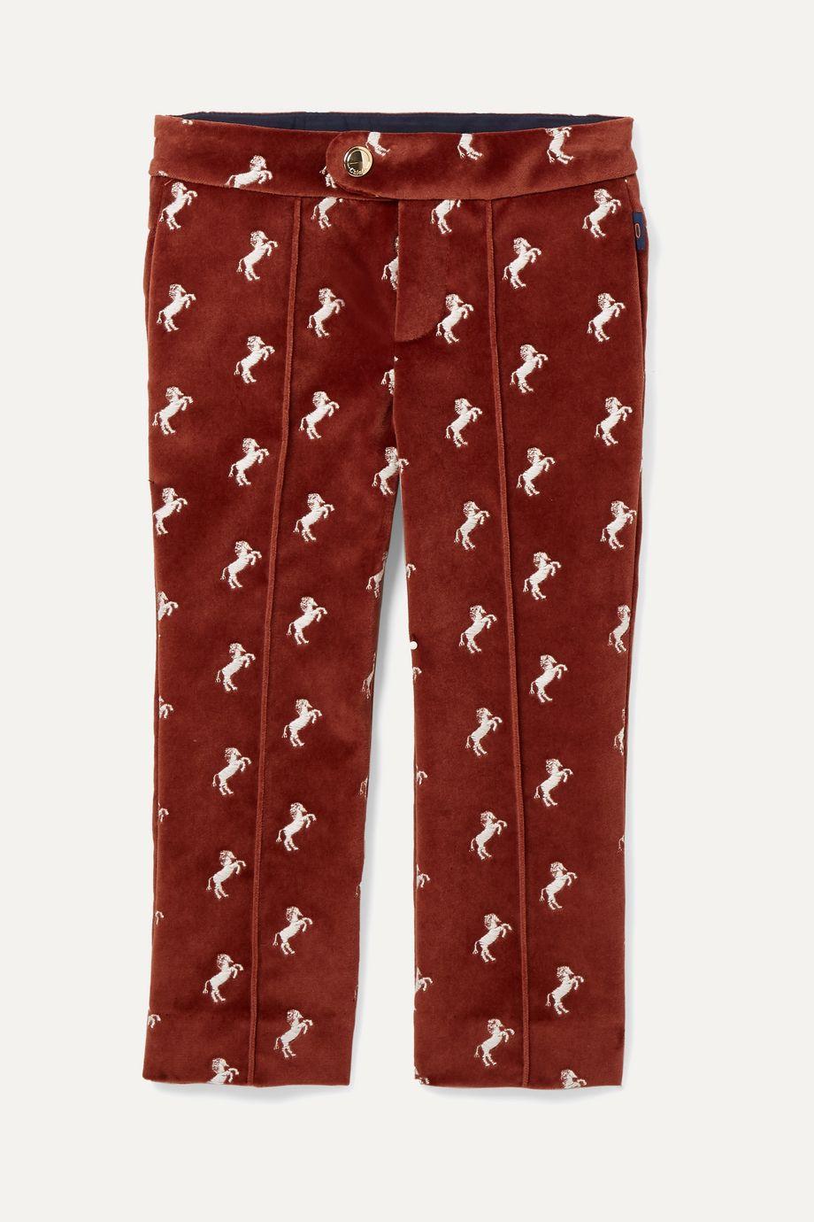 Chloé Kids Ages 2 - 5 embroidered cotton-velvet pants