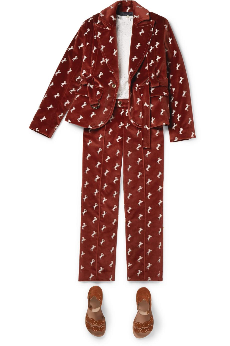 Chloé Kids Ages 6 - 12 embroidered cotton-velvet pants