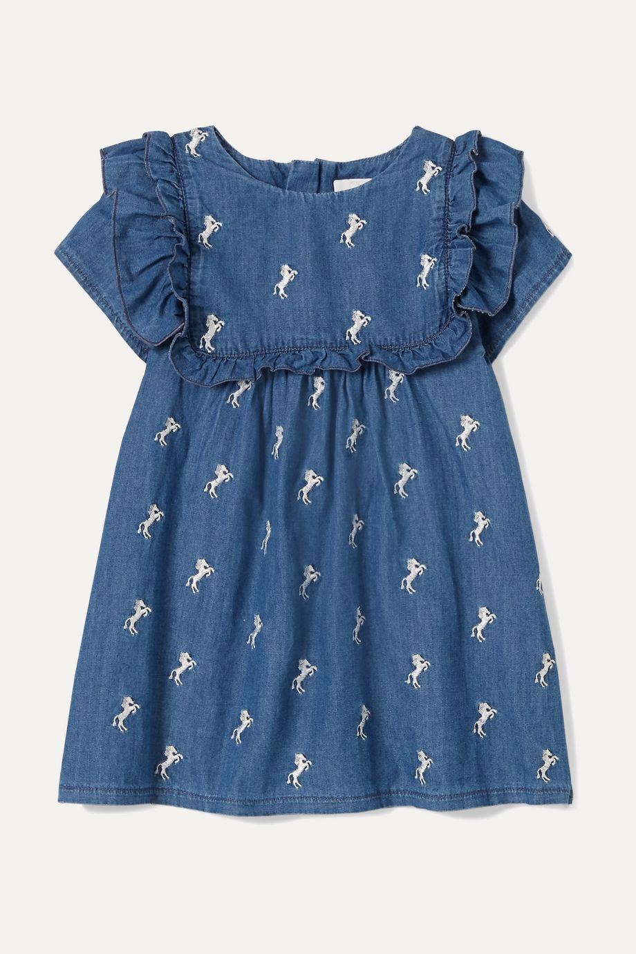 Chloé Kids Months 6 - 18 embroidered cotton-chambray dress