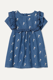 Months 6 - 18 embroidered cotton-chambray dress
