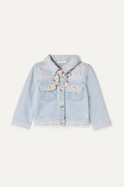 Chloé Kids Months 6 - 18 tie-detailed denim jacket