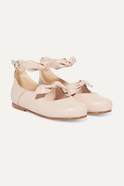 Sizes 22 - 24 bow-detailed leather ballet flats