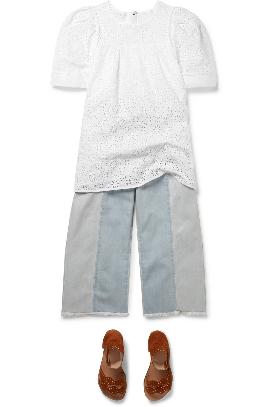 Chloé Kids Ages 6 - 12 broderie anglaise cotton top