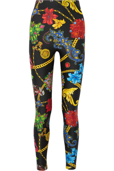 VERSACE | Versace - Floral-print Stretch-jersey Leggings - Black | Goxip
