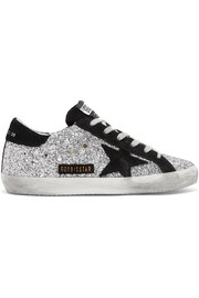 Golden Goose Deluxe Brand Superstar glittered leather and suede sneakers