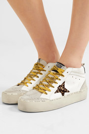 Hi Mid-Star distressed leather, suede and leopard-print calf hair sneakers