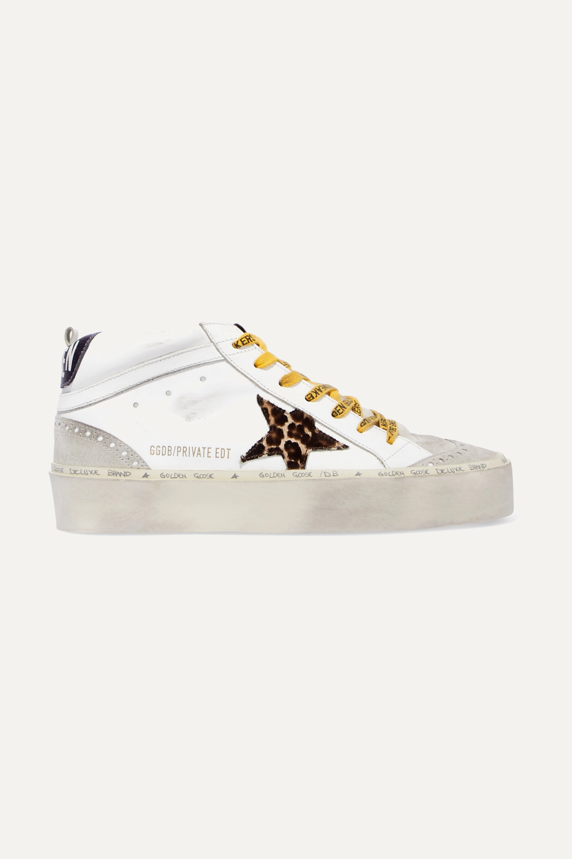 White Hi Mid-Star distressed leather