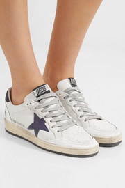 Ball Star distressed leather and suede sneakers