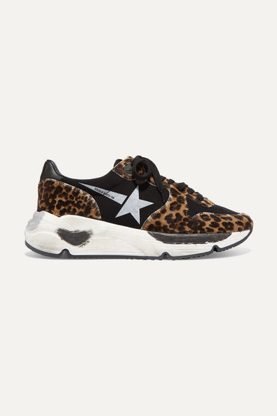 Running Sole Distressed Leopard-Print Calf Hair And Neoprene Sneakers in Black