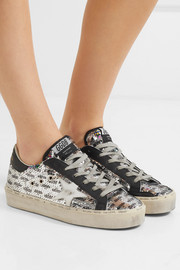 Hi Star distressed sequined leather sneakers
