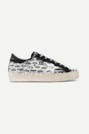 Golden Goose Hi Star distressed sequined leather sneakers
