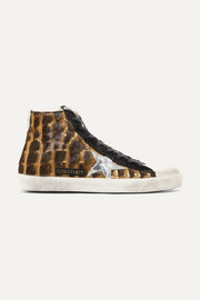 Golden Goose Francy distressed calf hair and suede high-top sneakers