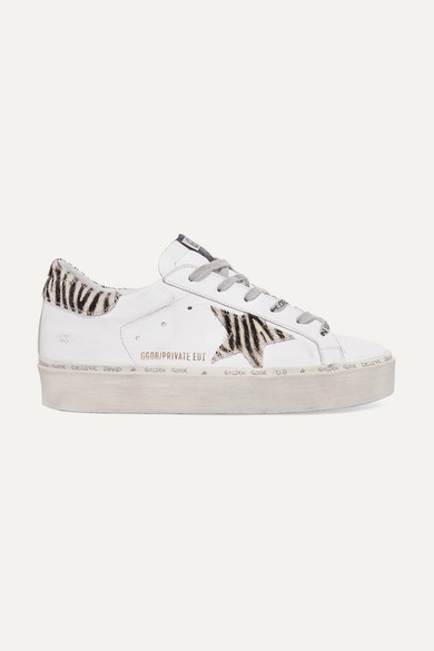 Hi Star Distressed Leather And Zebra-Print Calf Hair Platform Sneakers in White