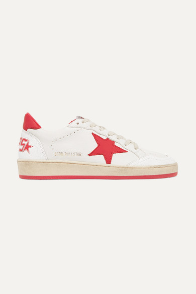 Ball Star Sneakers In White And Red Calf Leather