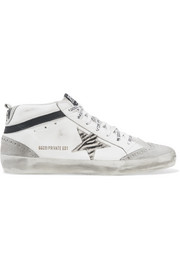 Golden Goose Mid Star distressed leather, suede and zebra-print pony hair sneakers