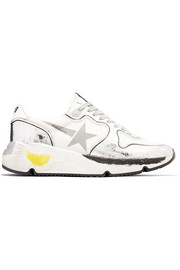 Golden Goose Running Sole distressed paneled metallic leather sneakers