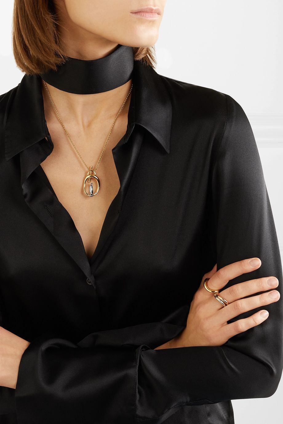 Charlotte Chesnais Turtle gold vermeil and silver necklace