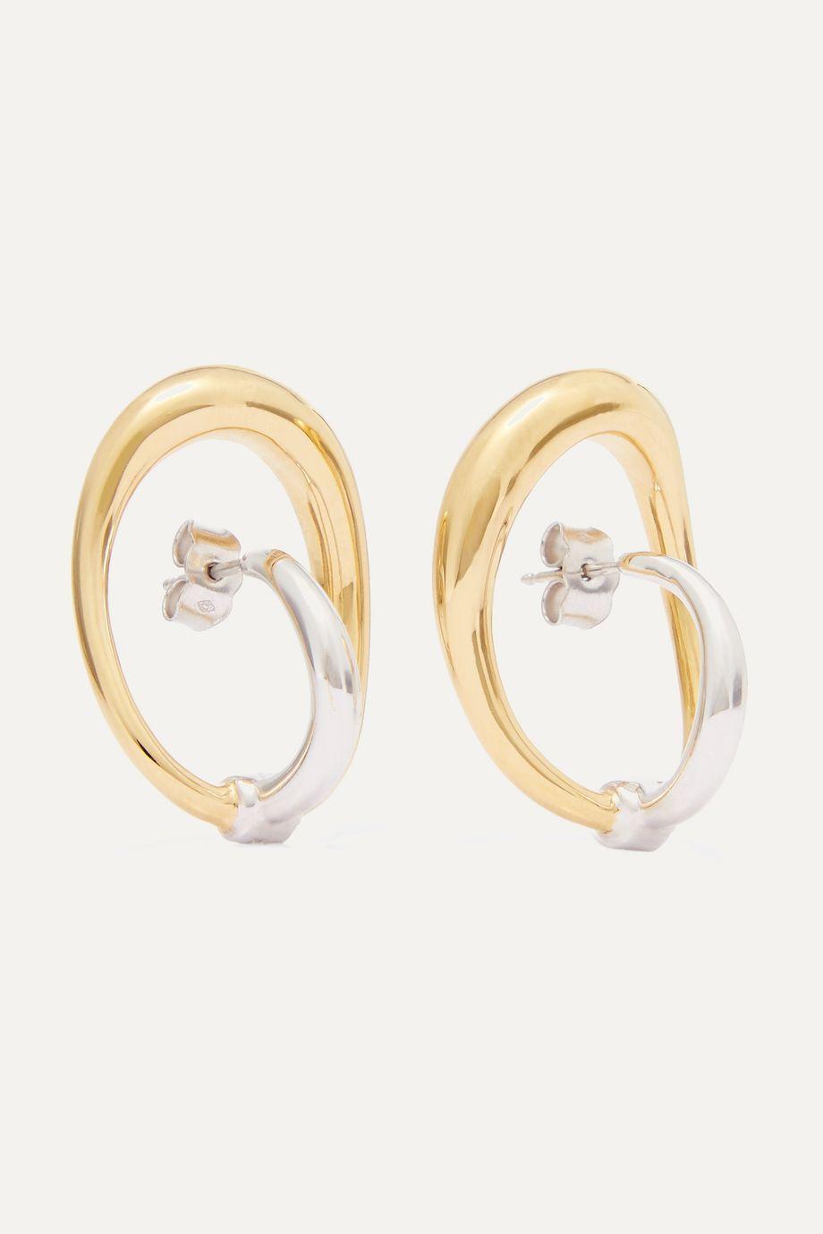 Charlotte Chesnais Turtle Ohrringe aus Gold-Vermeil und Silber