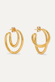 Initial gold vermeil hoop earrings