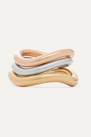 Wave set of three gold and rose gold vermeil and silver rings