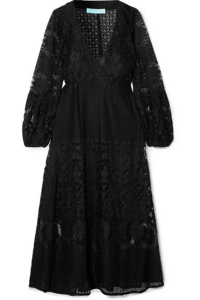 MELISSA ODABASH Melissa Lace Long-Sleeve Coverup Dress in Black