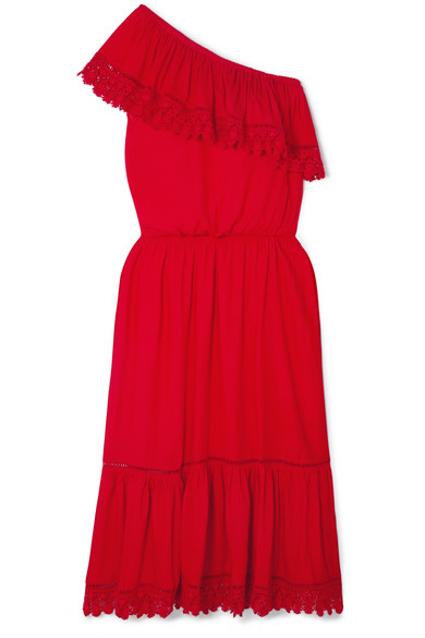 MELISSA ODABASH Jo One-Shoulder Crochet Lace-Trimmed Voile Midi Dress in Red