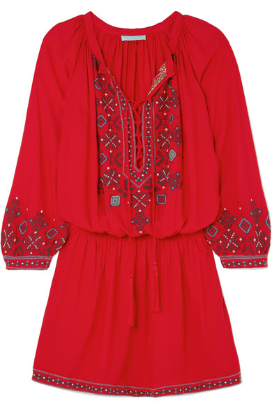 Nadja Embroidered Voile Mini Dress in Red