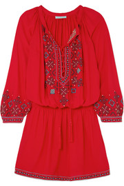 Nadja embroidered voile mini dress