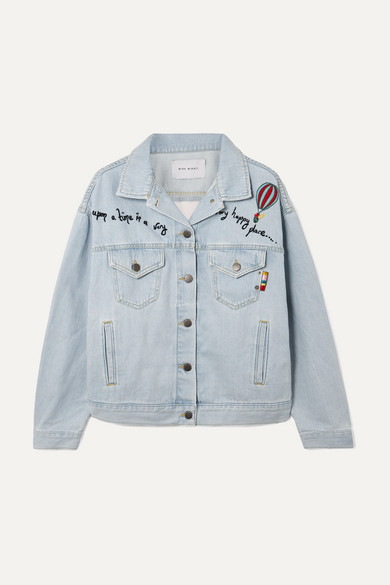 Embroidered Tulle-Paneled Denim Jacket in Blue