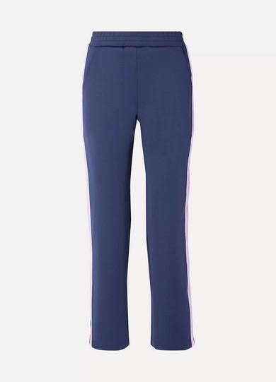 MIRA MIKATI | Mira Mikati - Striped Snap-embellished Knit-trimmed Scuba-jersey Track Pants - Navy | Goxip