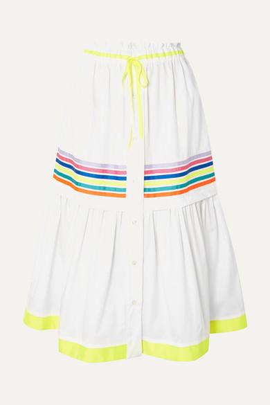 Grosgrain-Trimmed Cotton-Twill Midi Skirt in White