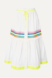 Mira Mikati Grosgrain-trimmed cotton-twill midi skirt