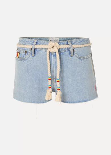 MIRA MIKATI   Mira Mikati - Belted Embroidered Denim Shorts - Light denim   Goxip
