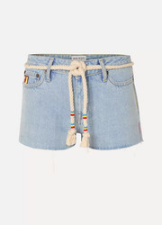 Mira Mikati Belted embroidered denim shorts