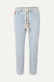 Mira Mikati Cropped embroidered high-rise straight-leg jeans