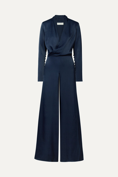 LES HÉROÏNES The Tina Wrap-Effect Satin Jumpsuit in Navy