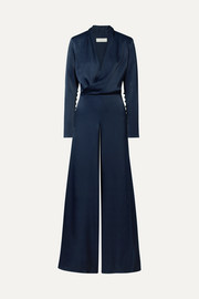 The Tina wrap-effect satin jumpsuit