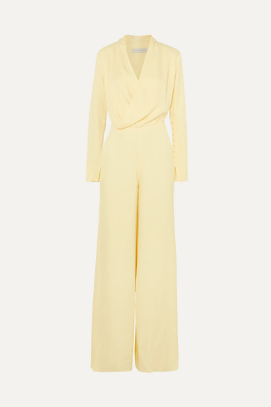 LES HÉROÏNES The Tina Wrap-Effect Satin Jumpsuit in Pastel Yellow
