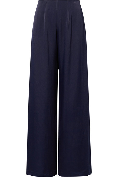 LES HÉROÏNES The Coco Wide-Leg Satin Pants in Navy