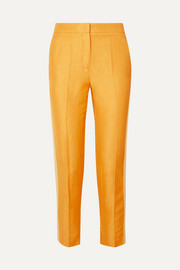Les Héroïnes Bentley cropped grosgrain-trimmed linen-blend canvas slim-leg pants