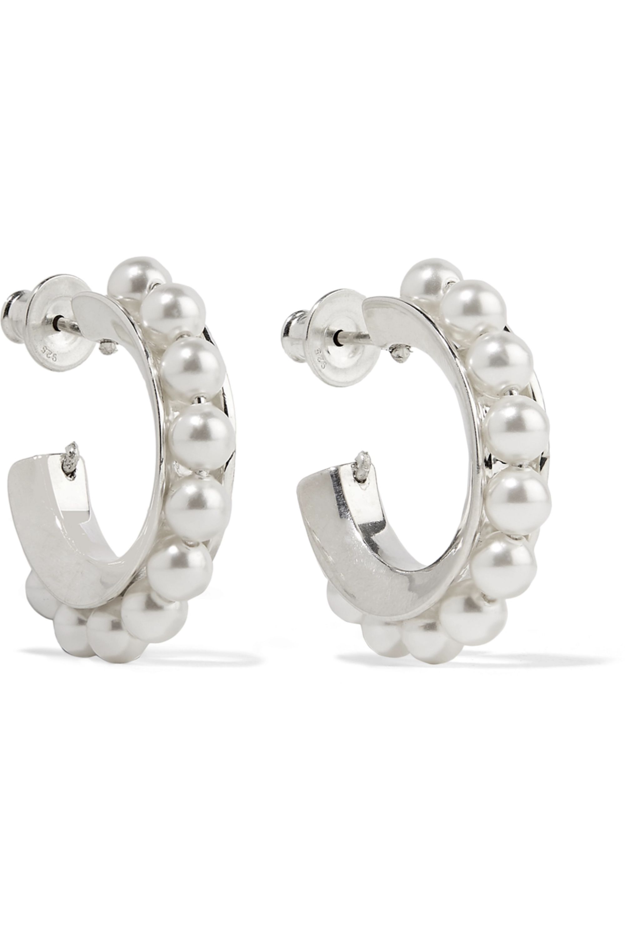 Sophie Buhai Silver pearl hoop earrings
