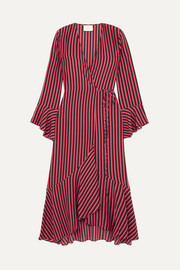 RIXO + Laura Jackson Luna striped silk-crepe wrap dress