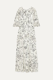 RIXO + Laura Jackson Frieda ruffled printed silk maxi dress