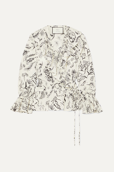 RIXO London - Laura Jackson Roisin Ruffled Printed Cotton-voile Wrap Blouse - Cream