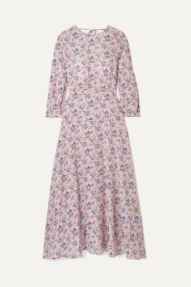 LES RÊVERIES Floral-Print Silk Crepe De Chine Midi Dress in Pastel Pink