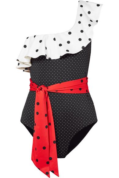 Prentis One-Shoulder Ruffled Polka-Dot Swimsuit in Black