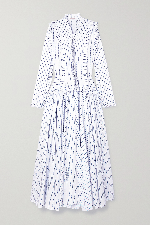 Alaïa Ruffled striped cotton maxi dress