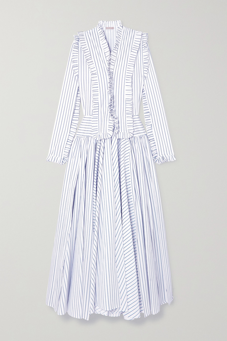 Alaïa Ruffled striped cotton maxi dress