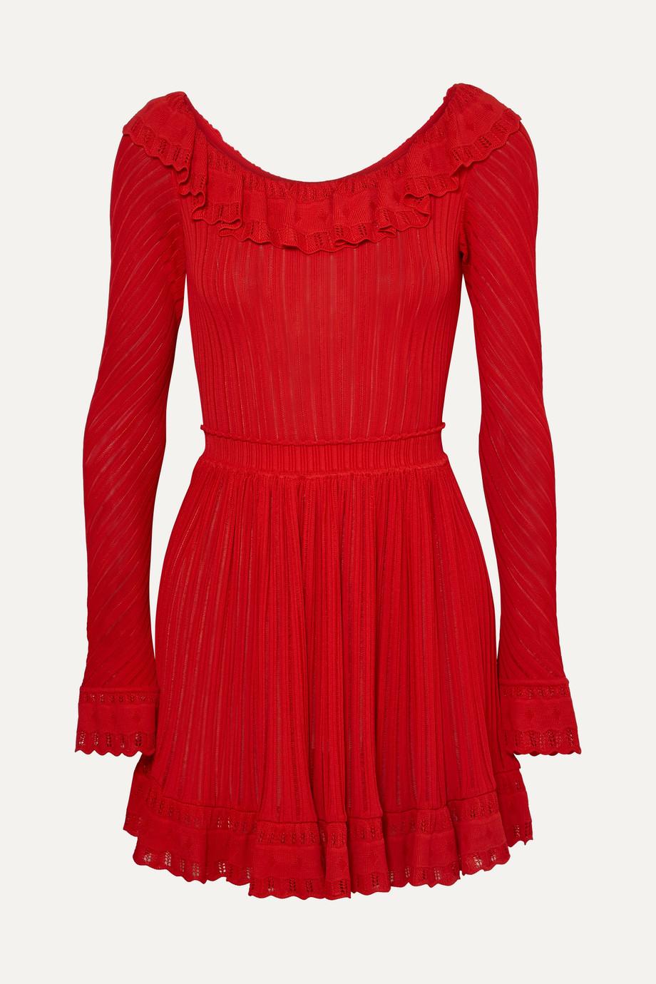 Alaïa Ruffled stretch-knit mini dress