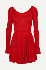 Alaïa Ruffled stretch-knit mini dress